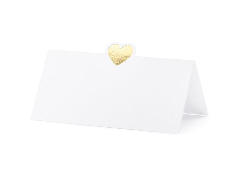 Galda kartiņas, baltā krāsā ar zelta sirsniņu, 10 gb