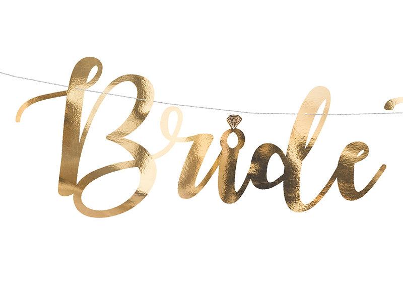 """Baneris """"Bride to be"""", zelta krāsa"""