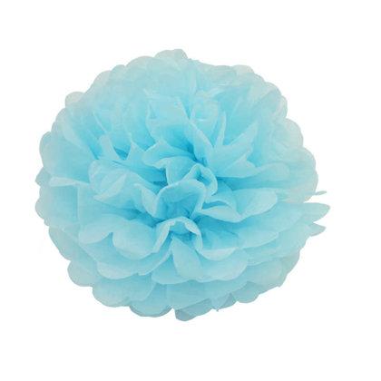 Zīdpapīra pompons, gaiši zils, 28.5 cm