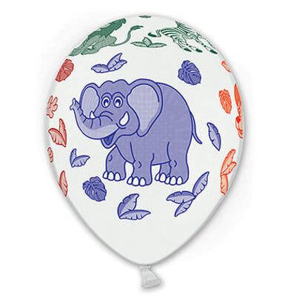 """30 cm lateksa balons """"Afrikas dzīvnieki"""", baltā krāsa - 1 gb."""