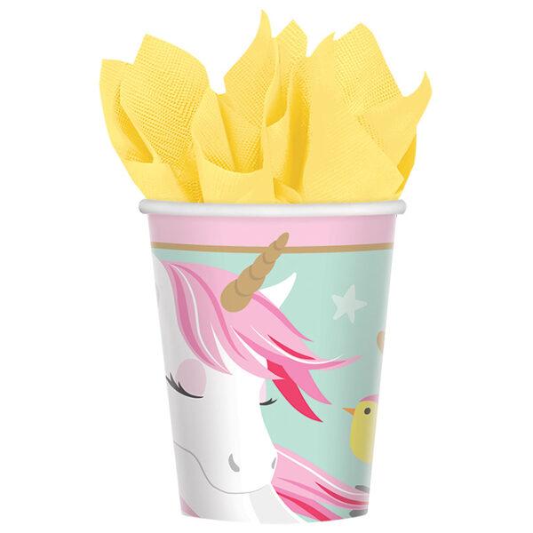 """Papīra glāzes """"Vienradzis ar ziediem"""", 8 gb, 250 ml"""