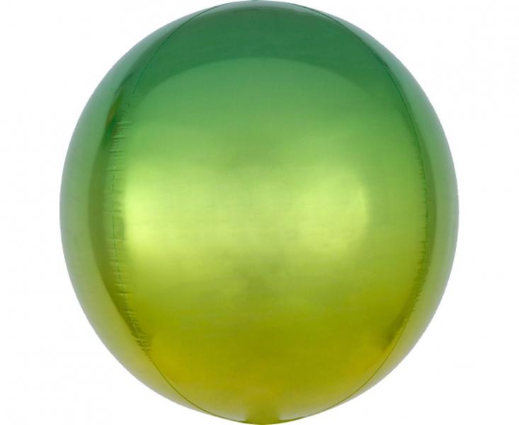 Folija balons OMBRE, apaļš, zaļā ar dzeltenu, 38 cm