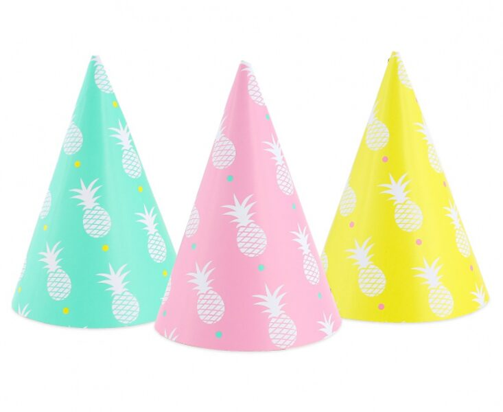 """Papīra cepures """"Saldais ananāss"""", 3 krāsas, 6 gb"""