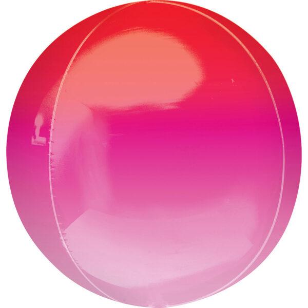 Folija balons OMBRE, apaļš, sarkanā un rozā, 38 cm