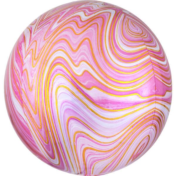 Folija balons ORBZ Marblez, apaļš, rozā, 40 cm