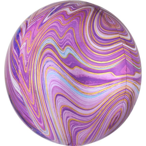 Folija balons ORBZ Marblez, apaļš, lillā, 40 cm