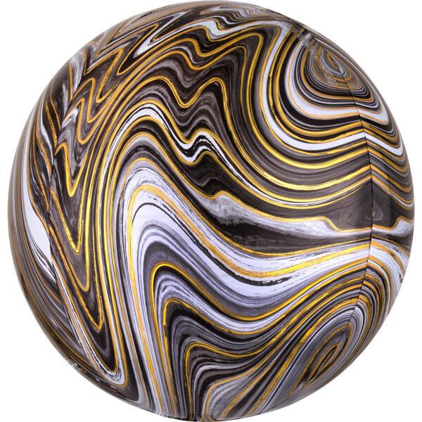 Folija balons ORBZ Marblez, apaļš, melns, 40 cm