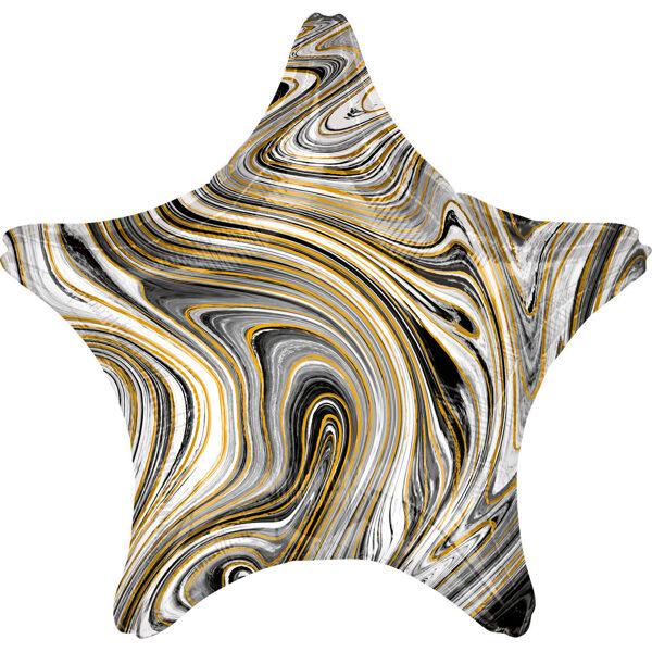 """Folija balons Marblez """"Zvaigzne"""", 43 cm, melnā krāsa"""