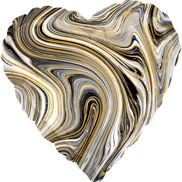 """Folija balons Marblez """"Sirds"""", 43 cm, melnā krāsa"""