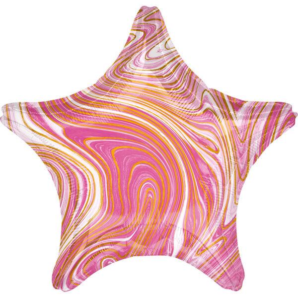 "Folija balons Marblez ""Zvaigzne"", 43 cm, rozā krāsa"