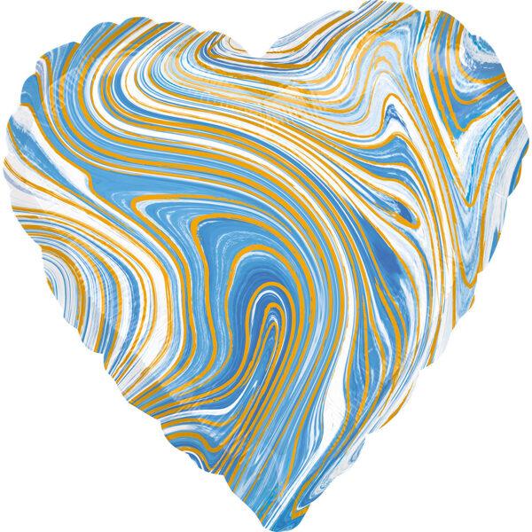 """Folija balons Marblez """"Sirds"""", 43 cm, zilā krāsa"""