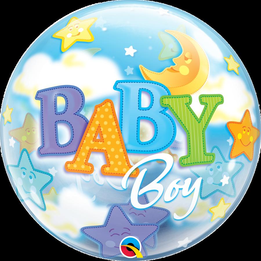 """Bubble balons """"Baby boy"""", apaļš, 56 cm"""