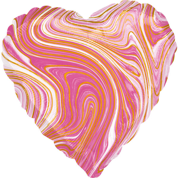 """Folija balons Marblez """"Sirds"""", 43 cm, rozā krāsa"""