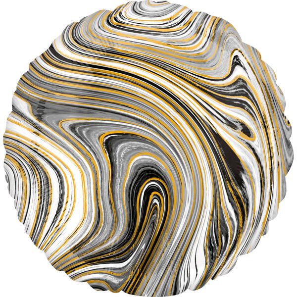"""Folija balons Marblez """"Aplis"""", 43 cm, melnā krāsa"""