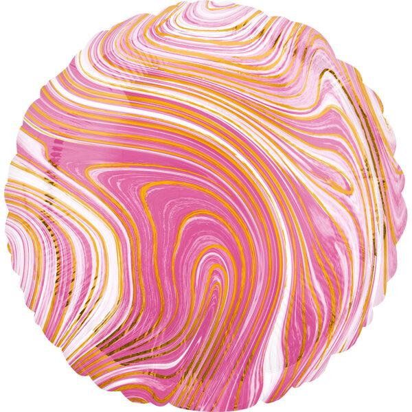 """Folija balons Marblez """"Aplis"""", 43 cm, rozā krāsa"""