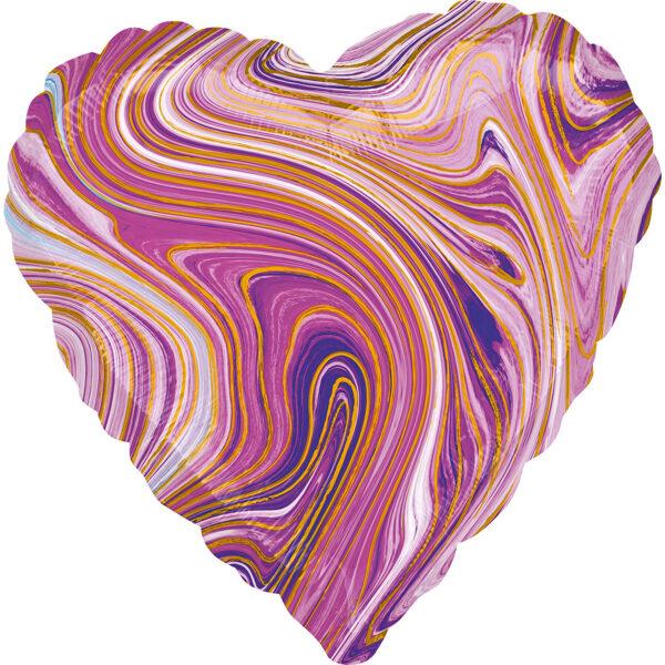 """Folija balons Marblez """"Sirds"""", 43 cm, lillā krāsa"""