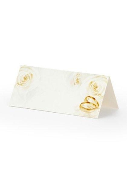 Galda kartiņas baltā krāsā ar ar laulības gredzeniem, 25 gb