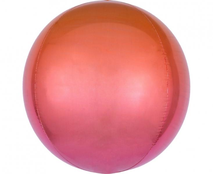 Folija balons OMBRE, apaļš, sarkanā ar oranžu, 38 cm