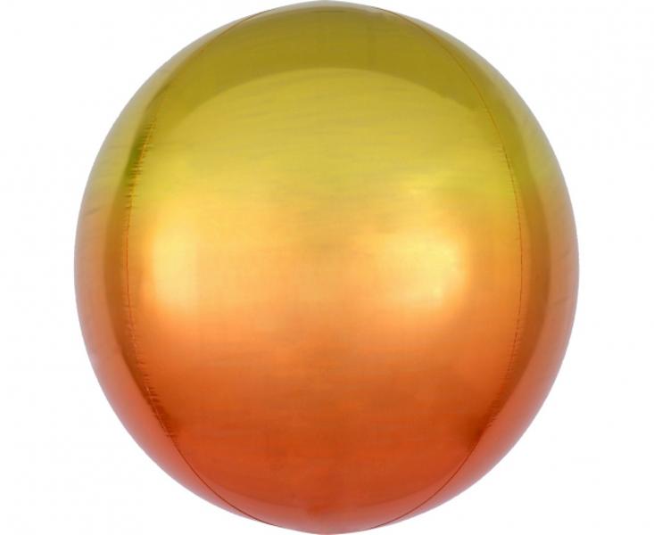 Folija balons OMBRE, apaļš, dzeltenā ar oranžu, 38 cm