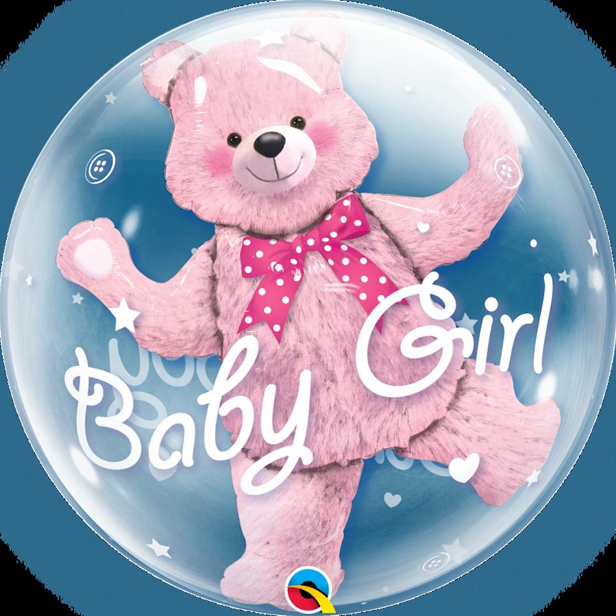 """Bubble balons ar folija figuriņu iekšā """"Baby Girl"""", apaļš, 56 cm"""