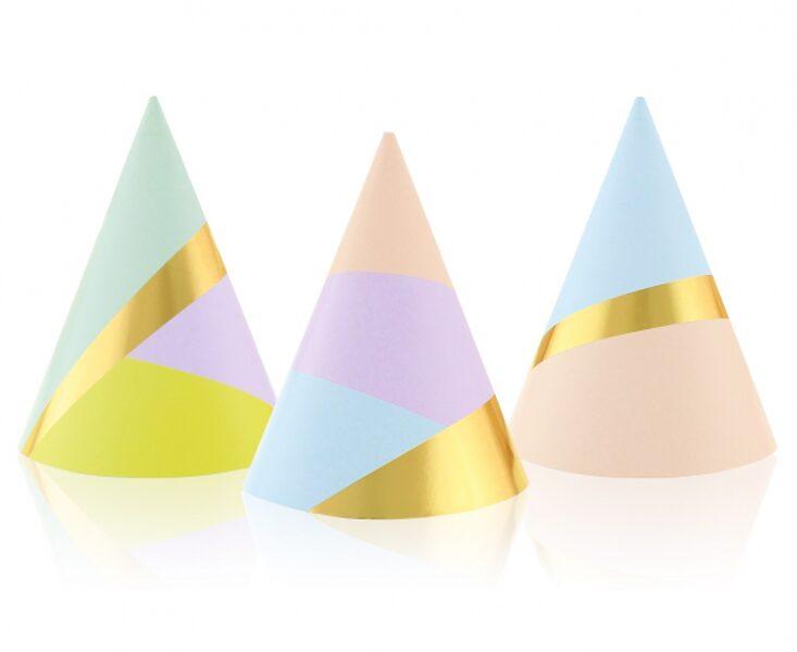"Papīra cepures ""Pastel party"", 6 gb"