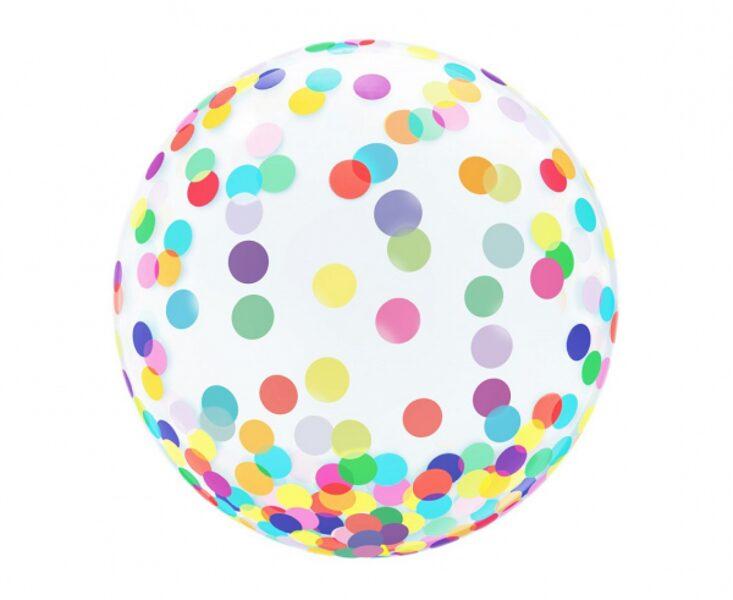 """Apaļš caurspīdīgs balons """"Kristāls - krāsaini aplīši"""", ar uzdruku, 46 cm"""