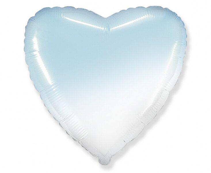 """Folija balons """"sirds"""", 46 cm, gaiši zilā un baltā"""