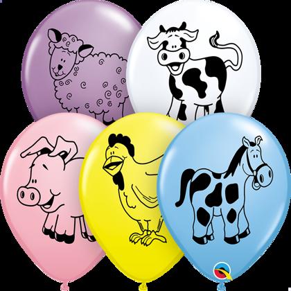 """28 cm lateksa balons """"Lauku dzīvnieki"""" - 1 gb."""
