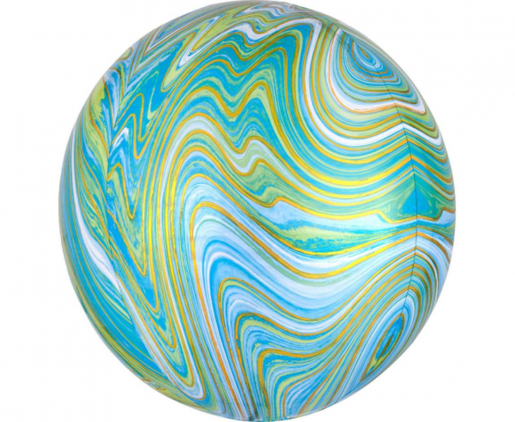 Folija balons ORBZ Marblez, apaļš, zilganzaļš, 40 cm