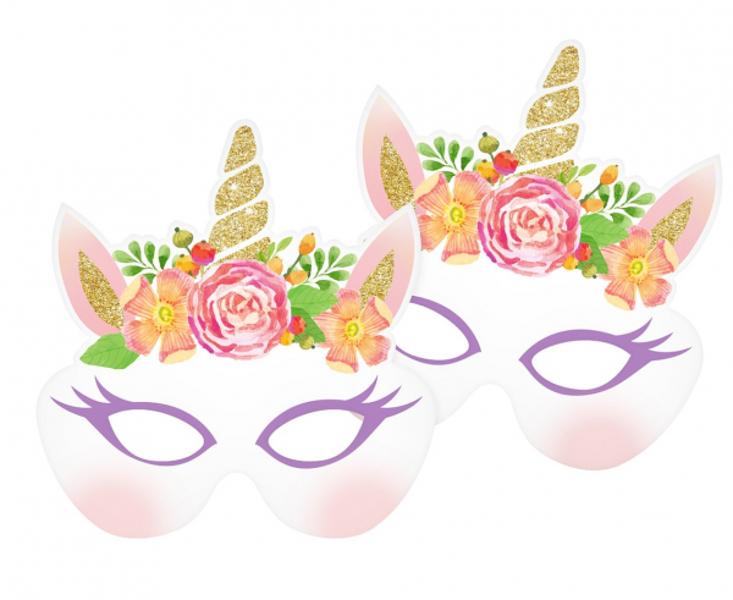"""Papīra maskas """"Vienradzis"""", 18x20 cm, 6 gb"""