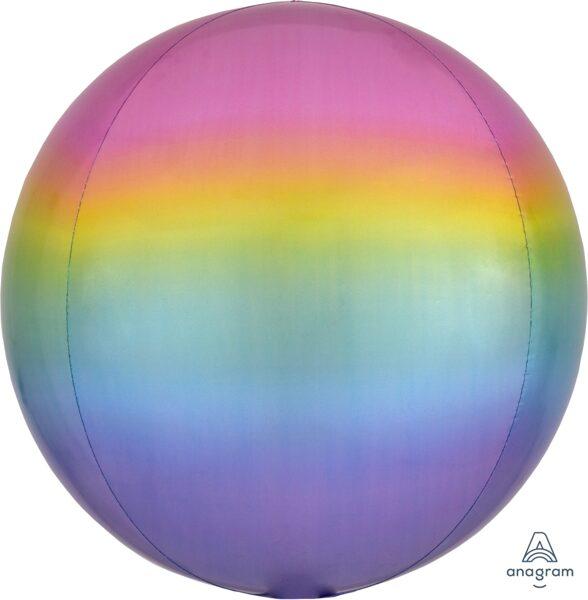 Folija balons OMBRE, apaļš, krāsains, 38 cm