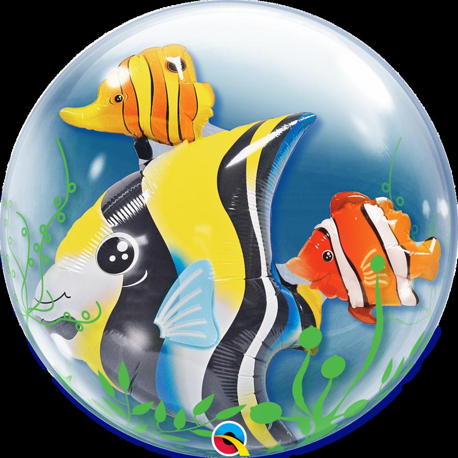 """Bubble balons ar folija figuriņu iekšā """"Zivtiņas"""", apaļš, 56 cm"""