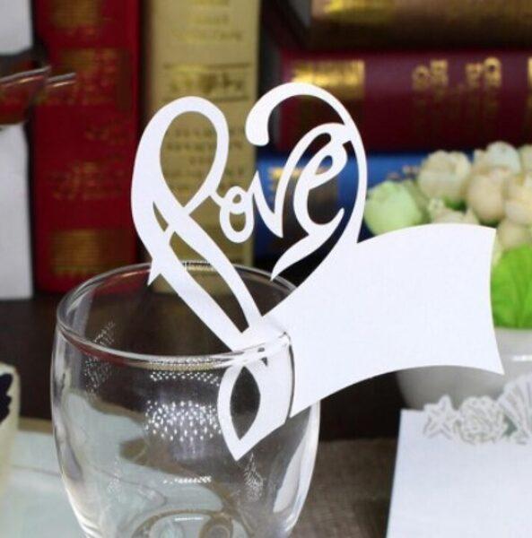 Galda kartiņas, baltā krāsā sirsniņas formā, Love 10 gb