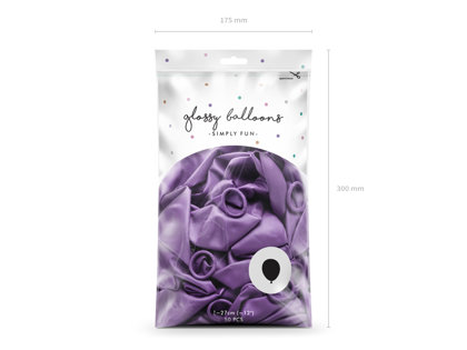 Balonu iepakojums, HROMS, 50 gb., 30 cm, violetā krāsa