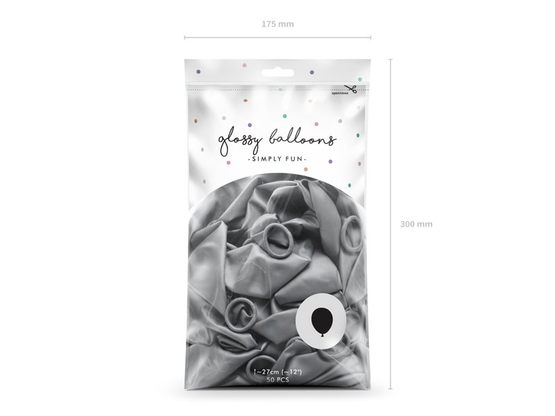 Balonu iepakojums, HROMS, 50 gb., 30 cm, sudraba krāsa