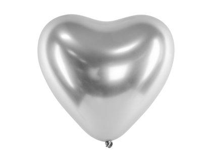 30 cm hromēts sirds formas balons, sudraba krāsa - 1 gb.