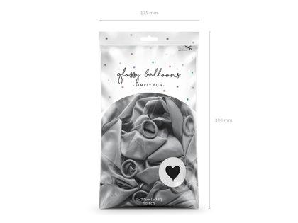 Balonu iepakojums, HROMS, sirsniņas, 50 gb., 30 cm, sudraba krāsa