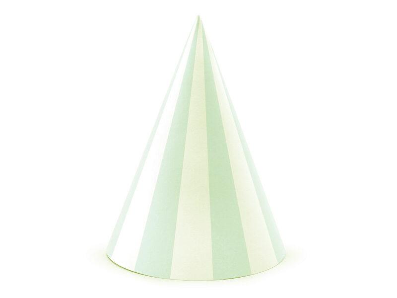 Papīra cepures, baltās ar zaļām stripām, 6 gb