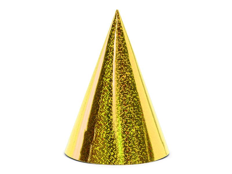 Papīra cepures zelta krāsā, hologrāfiskās, 6 gb