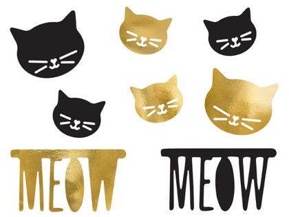 """Papīra dekors """"Meow"""". Melnā un zelta krāsā."""