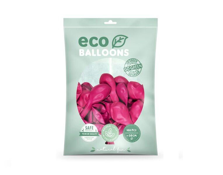 """Balonu iepakojums """"Eco"""", 100 gb., 30 cm,spilgti rozā krāsa"""