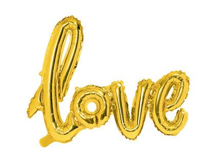 """Piepūšamais folija uzraksts """"love"""", zelta krāsa, 73x59cm"""