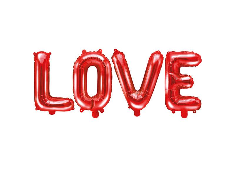 """Folija burtu komplekts """"LOVE"""", sarkanā krāsa, 140 x 35 cm"""