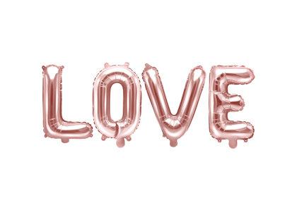 """Folija burtu komplekts """"LOVE"""", rozā zelts, 140 x 35 cm"""