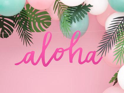 """Baneris """"Aloha"""", rozā krāsā, 19x47 cm"""