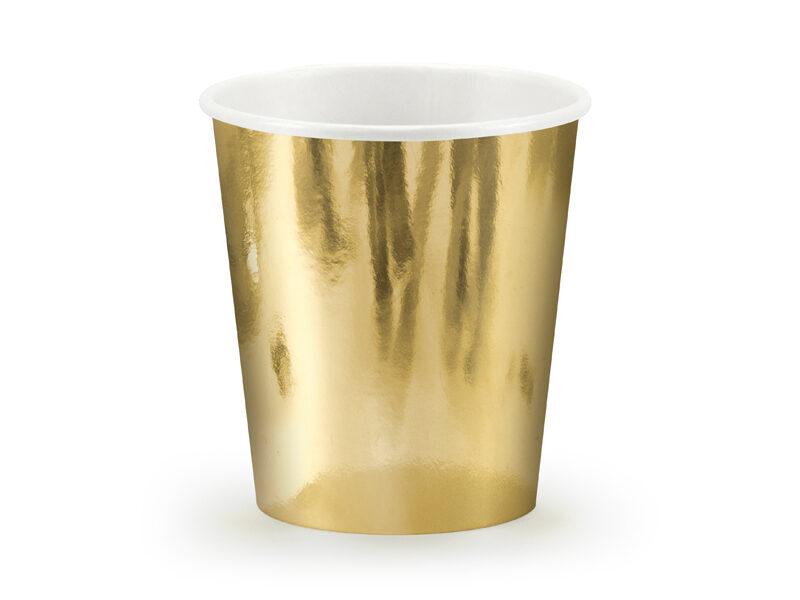 Papīra zelta glāzes. 6 gb, 180 ml