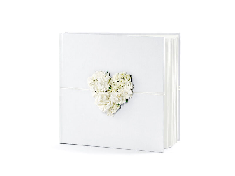 Viesu grāmata ar sirdi no papīra ziediem, 20.5 x 20.5 cm, 60 lpp