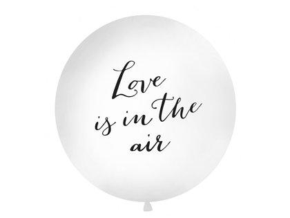 "Balts kāzu balons ar melnu vai zelta uzrakstu ""Love is in the air"" - 1m"