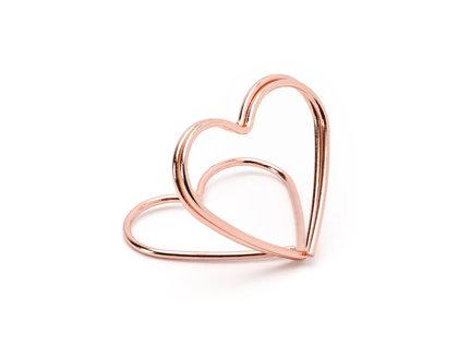 """Kartiņas turētājs """"Sirds"""", rozā zelta krāsā"""