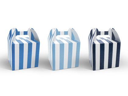 Papīra dekoratīvas kastītes zilas ar baltām strīpām, 6 gb